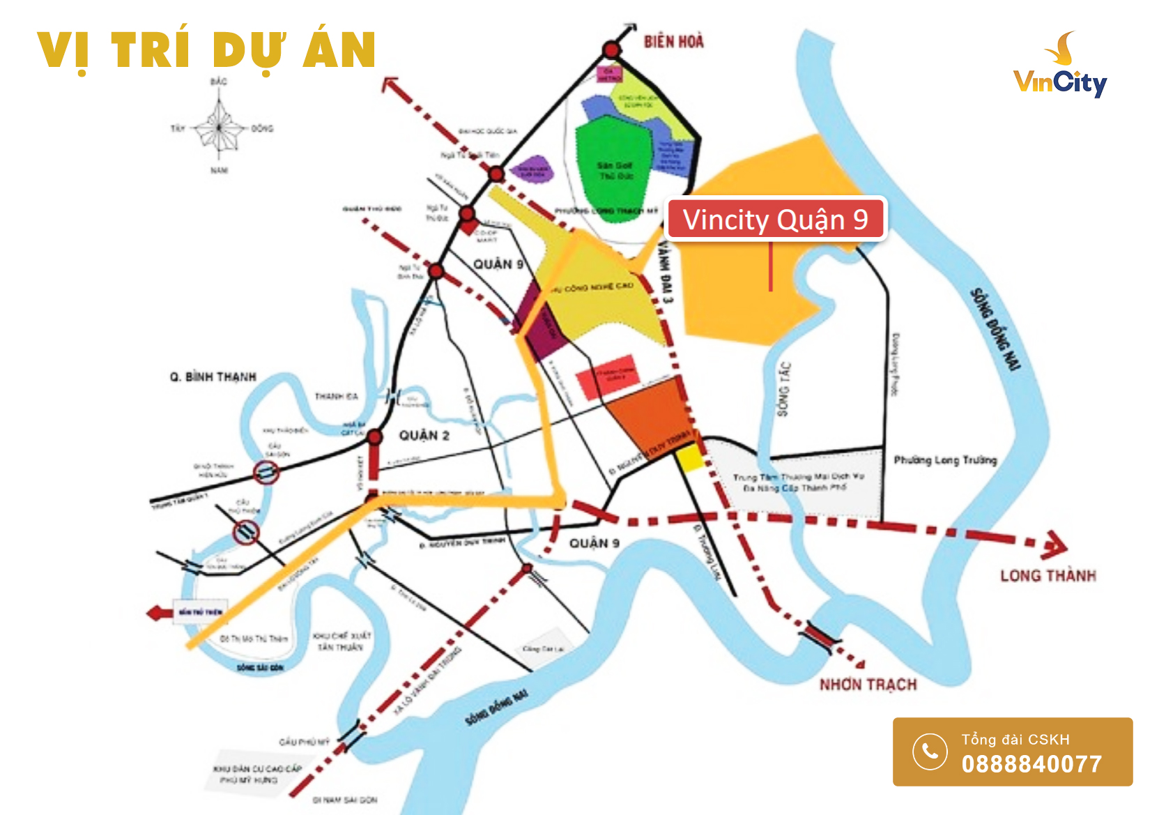Vị trí dự án khu đô thị Vincity Quận 9 - Vincity New Sài Gòn