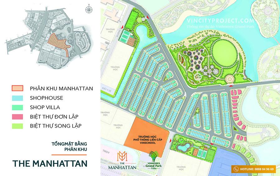 Mặt bằng tổng thể The Manhattan - nhà phố Vinhomes Grand Park