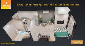 Vinhomes – Căn Hộ Studio 1 Phòng Ngủ | 1 WC | 28m2 | Giá tốt