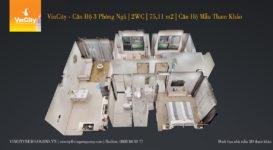 VinCity – Căn Hộ 3 Phòng Ngủ | 2WC | 75,11 m2 | Căn Hộ Mẫu Tham Khảo