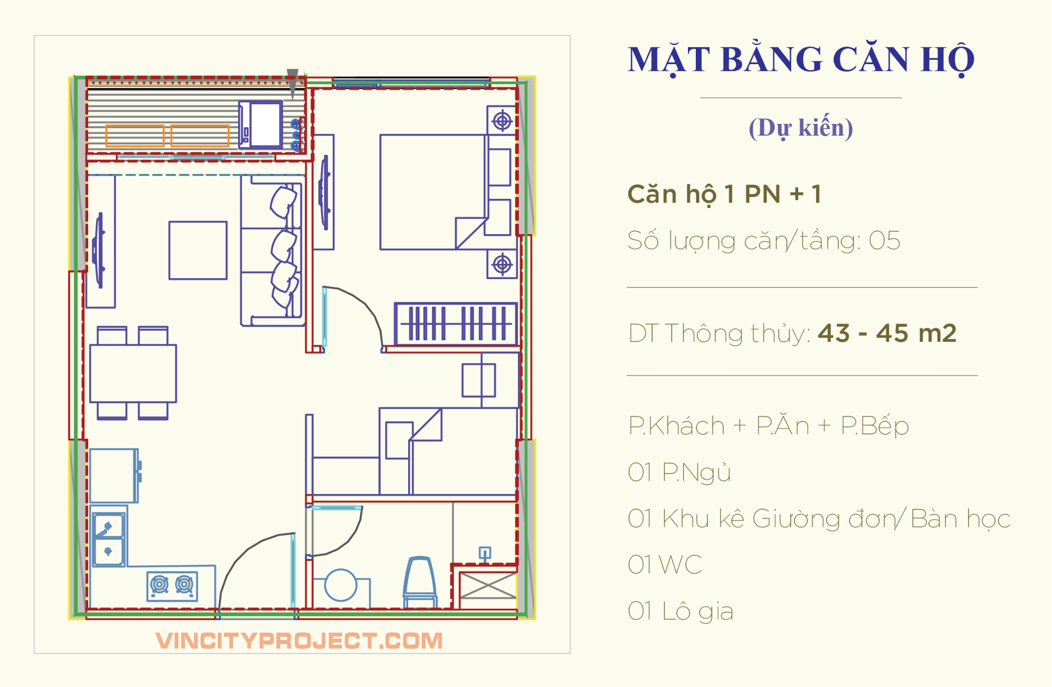 Layout mặt bằng thiết kế Căn hộ 1 phòng ngủ + 1 - 1 WC ( phòng ngủ Riêng kèm theo không gian đặt bàn làm việc )