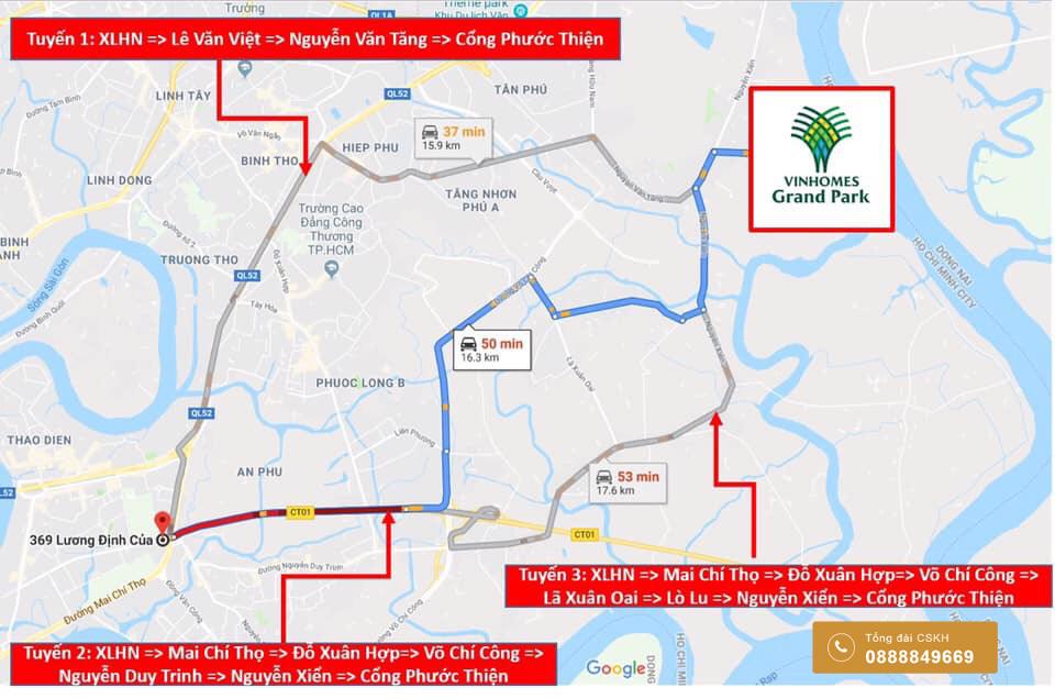 Bản đồ di chuyển từ Vinhomes Grand Park đi các quận trung tâm