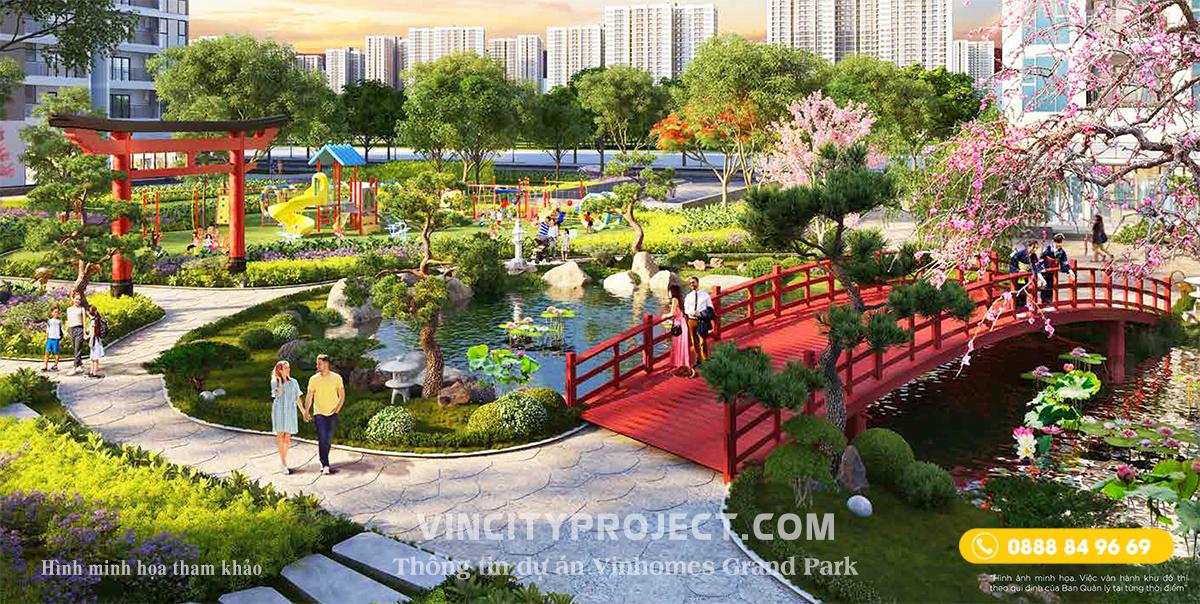 Phối cảnh minh họa phân khu 02 với công viên Nhật & hồ cá KOI ( hình minh họa tham khảo )