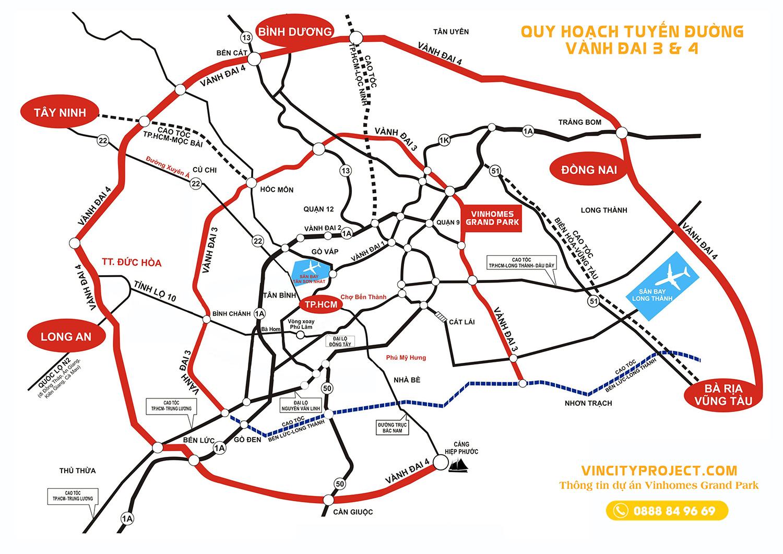 Bản đồ di chuyển từ Vinhomes Grand Park đi vành đai 3