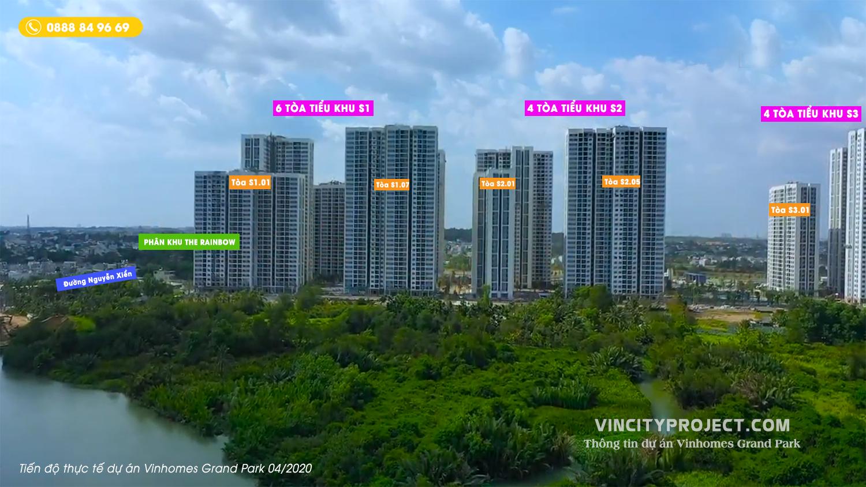 Vinhomes Grand Park tiến độ xây dựng 04/2020 bàn gia nhà sớm