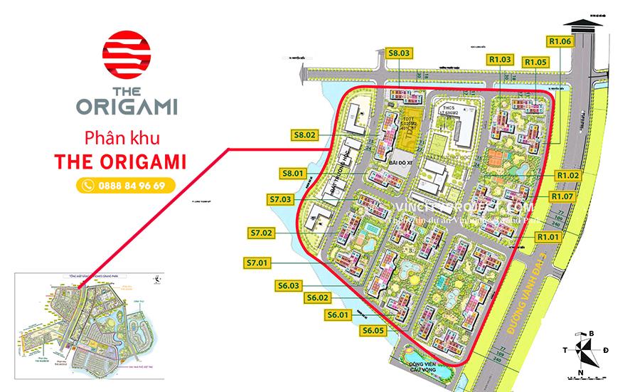 Sơ đồ layout & vị trí phân khu the Origami - giai đoạn 2 vinhomes grand park
