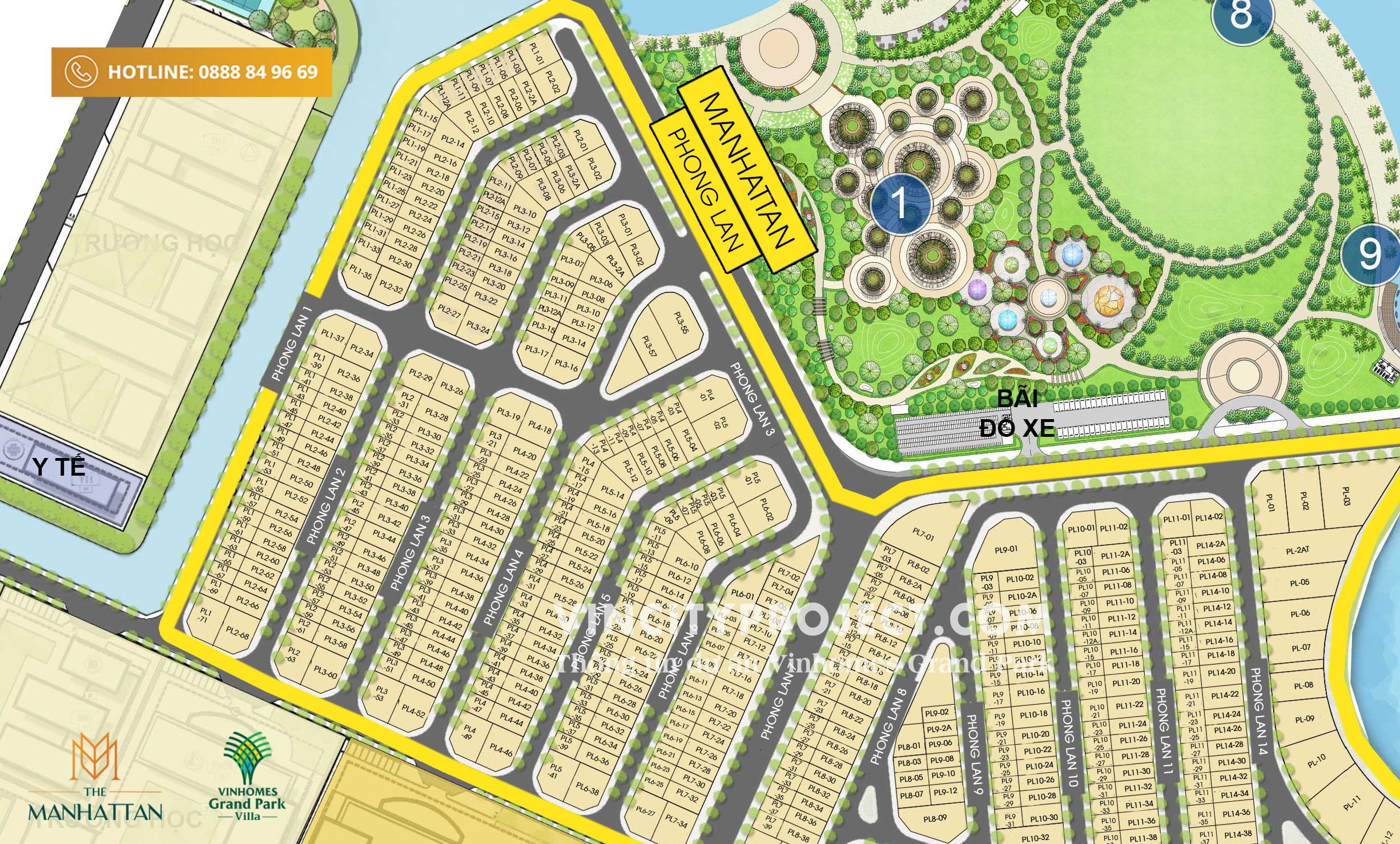 Layout khu nhà phố Vinhomes Grand Park - khu Phong Lan - The Manhattan