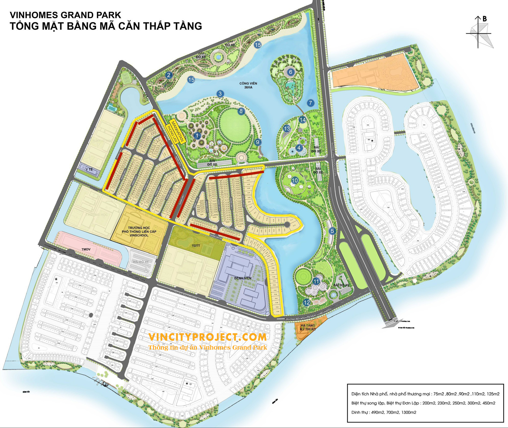 Mặt bằng tổng thể nhà phố Vinhomes Quận 9 mới nhất - Mở Bán